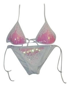 Victoria's Secret White with Pink sequins Victoria's Secret Bikini (NEVER WORN BUT NO TAGS)