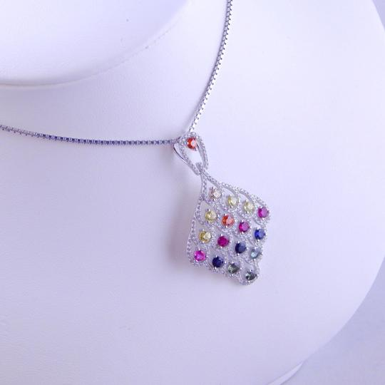 Other RAINBOW SAPPHIRE PENDANT 3mm ROUND STERLING SILVER