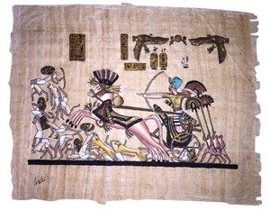 Nabil Egyptian Papyrus Painting; Ramesses Battle of Kadish [ Roxanne Anjou Closet ]
