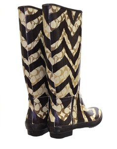 Coach Wellies Brown Zebra Signature Boots