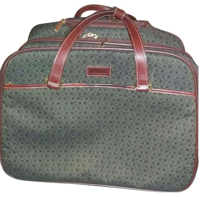 Hartmann Rare Vintage Collection Green with Brown Leather Trim Jacquard Diamond Weekend/Travel Bag Hartmann Rare Vintage Collection Green with Brown Leather Trim Jacquard Diamond Weekend/Travel Bag Image 1