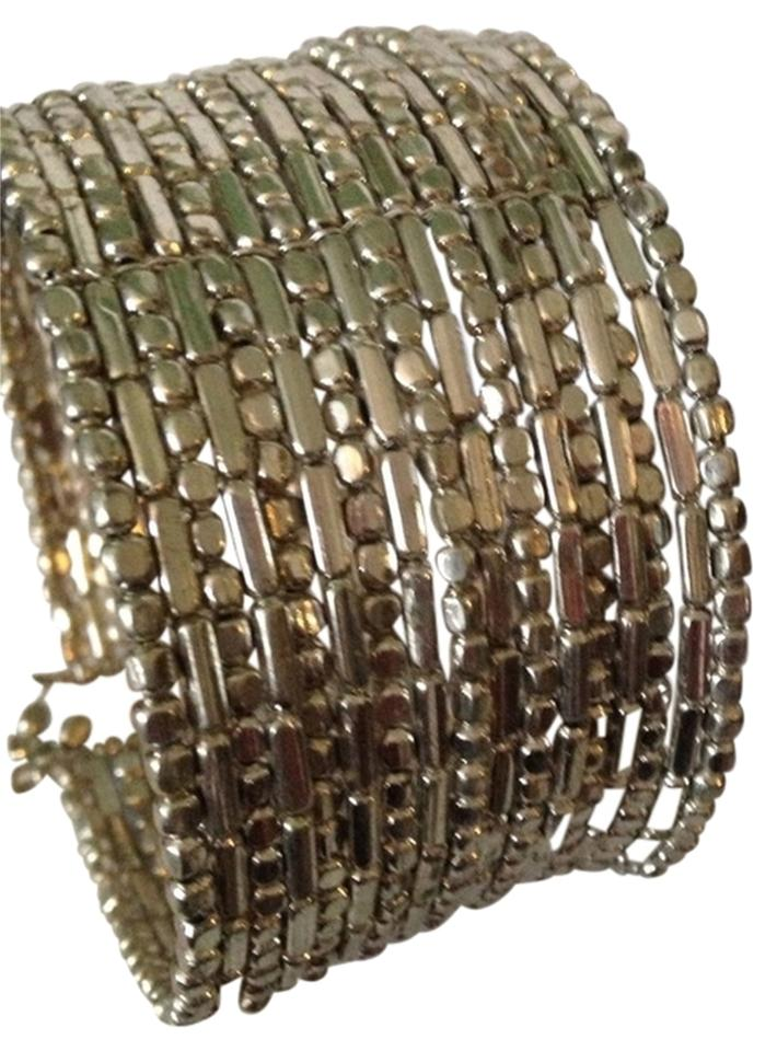 Kenneth Cole Silver Tone Seed Bead Coil Bracelet