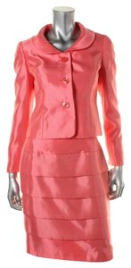 Le Suit Le Suit Womens City Blooms Pink Shantung 2PC Skirt Suit Petites 10