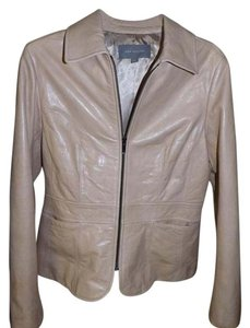 Ann Taylor 100% Leather Beige Leather Cream/Beige Leather Jacket