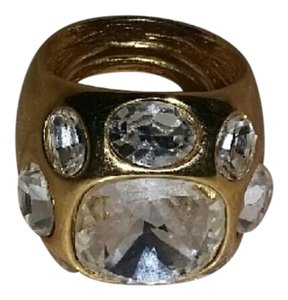 Kenneth Jay Lane Beautiful gold with crystal ring (adjustable )