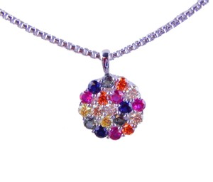 9.2.5 RAINBOW SAPPHIRE CLUSTER PENDANT 3mm ROUND STERLING SILVER