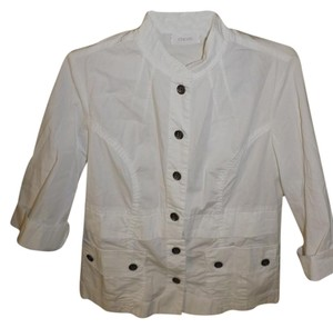 Chico's Light Button Up Button Down White Jacket