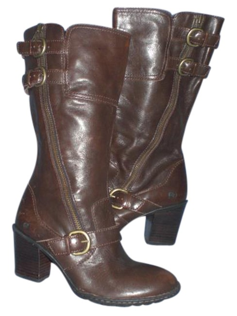 Børn Brown Triple Buckle Leather Boots/Booties Size US 8 Regular (M, B) Børn Brown Triple Buckle Leather Boots/Booties Size US 8 Regular (M, B) Image 1