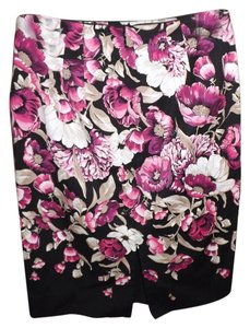 White House | Black Market Pencil Floral Multi-colored Slit Skirt Purple, Black, White, Taupe, Pink