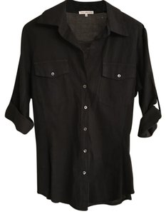 James Perse Shirt Collar Button Down Shirt Black