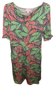 Lilly Pulitzer Short Sleeve Wear To Work Knee Length Knit Multi-colored Dress