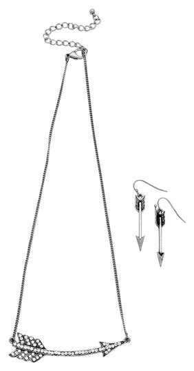 Other Crystal Accent Rustic Silver Chain Arrow Pendant Necklace and Earring Set