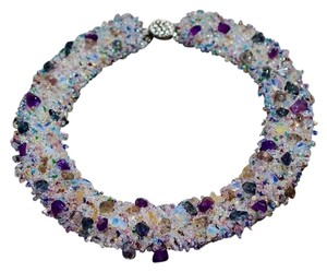 Handmade authentic amethyst seed bead necklace no