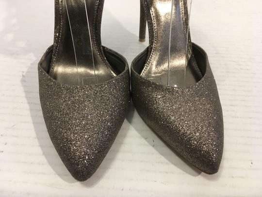 Rebecca Taylor Sparkles bronze glitter covered leather lining soles stilettos geometric wide ankle straps back zippers Pumps