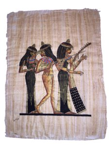 Egyptian Papyrus Painting; The Three Women Musicians [ Roxanne Anjou Closet ]