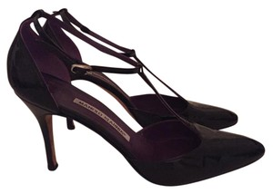 Manolo Blahnik Leather T Strap Manolo Heels Heels black Pumps