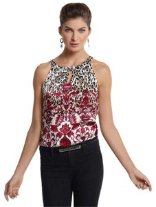 White House | Black Market Sold Out In Stores Baroque Sleeveless Top Animal Print, Red and Black
