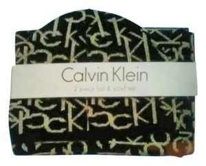Calvin Klein CK scarf & beanie black with silver lettering