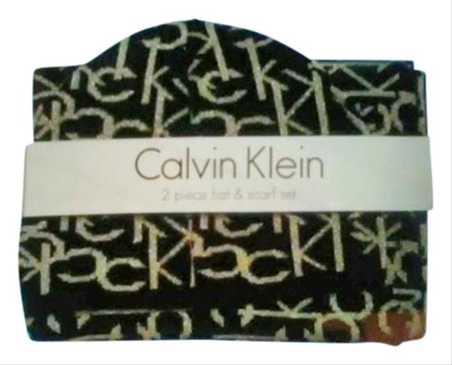 Item - Black with Silver Lettering Ck Beanie Scarf/Wrap