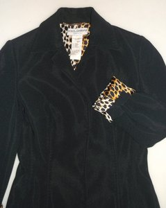 Dolce&Gabbana Stretch Jacket Animal Print Lining Made In Italy Black Blazer