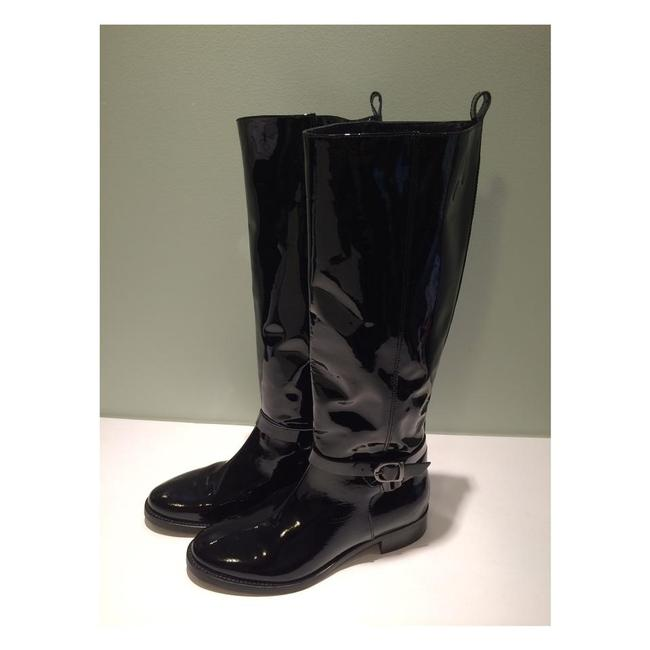 Black New Italian Designer Patent Leather Tall Riding Boots/Booties Size US 8.5 Black New Italian Designer Patent Leather Tall Riding Boots/Booties Size US 8.5 Image 1