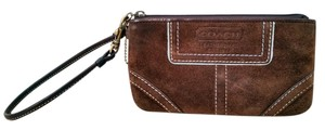 Coach Suede Designer Wristlet in Brown