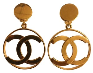 Chanel RARE Vintage Authentic CHANEL CC Logo Circle Huge Dangle Earrings Box