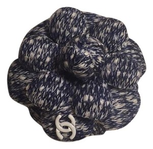 Chanel Blue White Tweed Cc Logo Brooch Pin