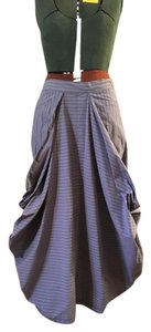 Hanna by La Journée Summery Romantic Edgy Fun Maxi Skirt Blue and white