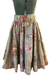 H&M Romantic High Waisted Floral Skirt Taupe, red, blue, gold, green, white