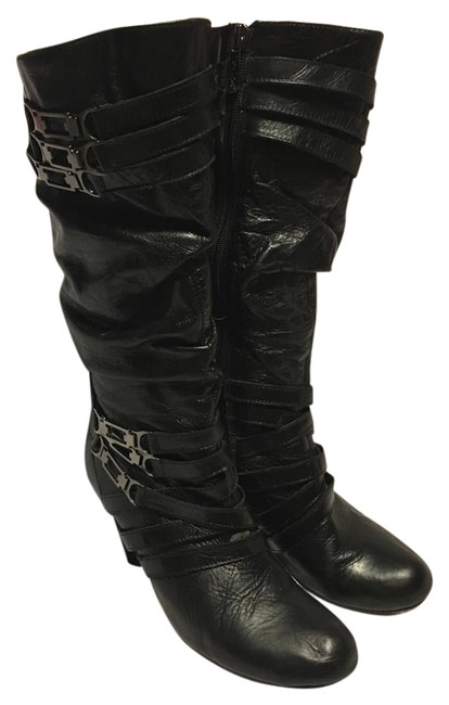 "Two Lips Black Leather ""Vantage"" Style Triple Metal Criss Cross Straps Boots/Booties Size US 9 Regular (M, B) Two Lips Black Leather ""Vantage"" Style Triple Metal Criss Cross Straps Boots/Booties Size US 9 Regular (M, B) Image 1"