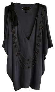 Robert Rodriguez Silk Shirt Jewelry Top Navy and Black