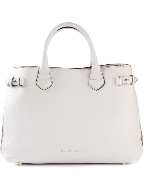 Burberry Medium Banner House Check Leather White Satchel Burberry Medium Banner House Check Leather White Satchel Image 1