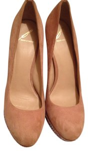 Brian Atwood Platform Leather Jewels Nude Pumps