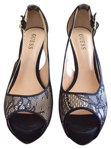 Guess Sexy Stiletto Peep Toe Black and tan lace Pumps