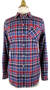 ExOfficio Button Down Shirt Red, Blue