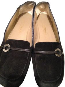 Bruno Magli Patent Leather Logo Suede Black Flats