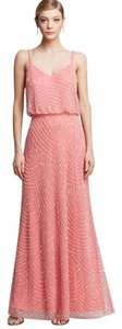 Adrianna Papell Art Deco Beaded Blouson Gown Dress