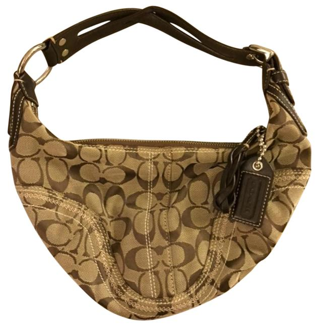 Coach Classic Logo with Leather Detail Brown/Tan Hobo Bag Coach Classic Logo with Leather Detail Brown/Tan Hobo Bag Image 1