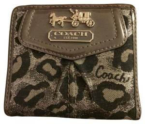 Coach Leopard black, silver and grey Coach wallet with leather trim