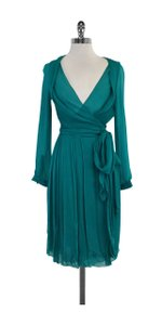Cline short dress Green Silk Wrap Long Sleeve on Tradesy