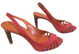 Via Spiga Classic Wood Heels Small Platform Pink patent all leather cut outs slingback Sandals