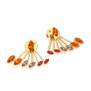 Ca&Lou 'Evelyn' Crystal Fan Cuff Earrings