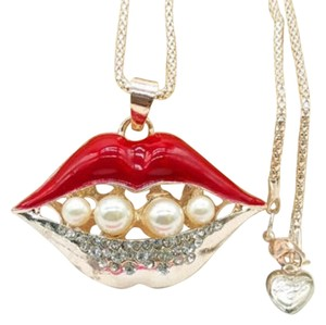 Betsey Johnson New Betsey Johnson Lips Necklace Red Gold J3061