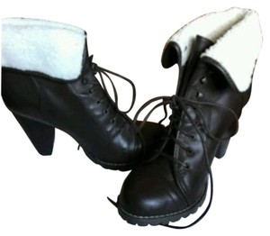 Other Heel Fur Brown Lace Up Boots