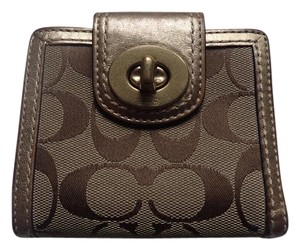 Coach Bifold Wallet w/Coin Purse Pattern Fabric/Gold Leather Trim