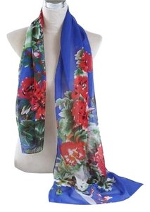 Other New Floral Chiffon Scarf Blue Red Green P2301