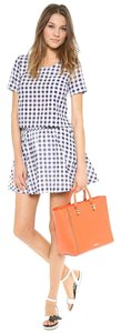 J.O.A. Matching Separates Gingham Checkered Crop Top Blue White