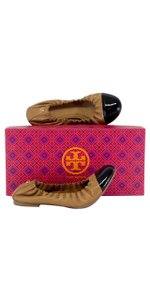 Tory Burch Brown & Black Leather Cap Toe Ballet Flats