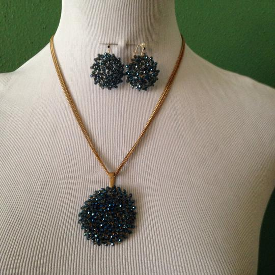 Kenneth Cole Kenneth Cole Gold-Tone Blue Woven Faceted Bead Necklace Only! Matching Earrings Sold Seperately.